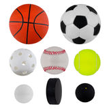 Sport balls collection. Over white Royalty Free Stock Image