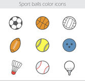 Sport balls color icons set Royalty Free Stock Image