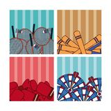 Sport balls on colorful squares Stock Photos