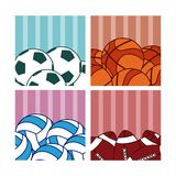 Sport balls on colorful squares Stock Photography