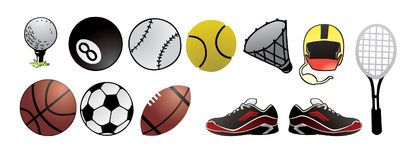 Sport balls detail vector royalty free stock image