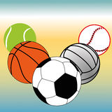 Sport balls. Different sports balls on special blue and yellow background Stock Image