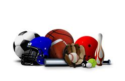 Sport Balls and Equipment. Over White Stock Image