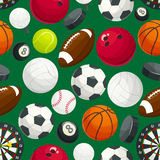 Sport balls and equipment seamless pattern Royalty Free Stock Images