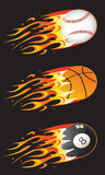 Sport balls in fire. Base, basketball & pool balls in fire Stock Image