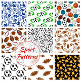 Sport balls, fitness items seamless patterns set Royalty Free Stock Photo