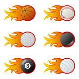 Sport Balls in Flames [1]. Collection of six sport balls (basketball, baseball, golf, ice hockey, billiards, volleyball) with fire and flames, isolated on white Royalty Free Stock Photography