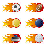 Sport Balls in Flames [2]. Collection of six sport balls (soccer, football, tennis, bowling, curling stone, handball) with fire and flames, isolated on white Stock Photos