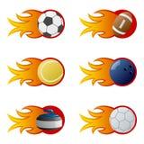 Sport Balls in Flames [2] Stock Photos