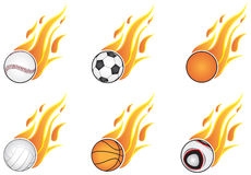 Sport balls with flames. Six types of sports and open flame. On a white background Stock Photo