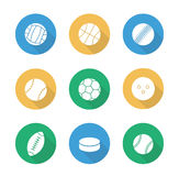 Sport balls flat design icons set Stock Images