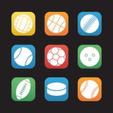 Sport balls flat design icons set Royalty Free Stock Photo