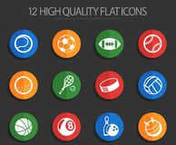 Sport balls 12 flat icons. Sport balls vector icons for web and user interface design Stock Illustration