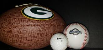 Sport Balls. Football. Baseball, golf ball close up royalty free stock images