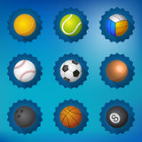 Sport Balls Football Soccer Voleyball etc Flat icon set vector b Royalty Free Stock Image
