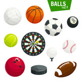 Sport balls and game items vector icons set Stock Photo