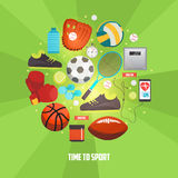 Sport balls and gaming items icons set. Vector concept with sport equipment for competitive games. Sport creative illustration Vector Illustration