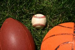 Sport Balls in Grass. Close up of sports balls in grass Royalty Free Stock Photos