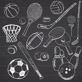 Sport balls Hand drawn sketch set with baseball, bowling, tennis football, golf balls and other sports items. Drawing doodles elem Royalty Free Stock Images