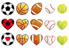 Sport balls and hearts, vector set. Football,basketball,soccer, baseball and tennis ball heart, vector set Royalty Free Stock Images