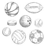 Sport balls and ice hockey puck sketches Royalty Free Stock Photography