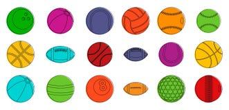 Sport balls icon set, color outline style vector illustration