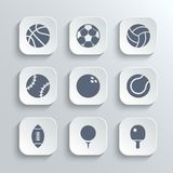 Sport balls icon set - vector white app buttons. With football soccer tennis baseball basketball golf  volleyball rugby bowling ping pong symbols Royalty Free Stock Image