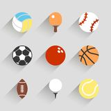 Sport balls icon set - vector white app buttons. Long shadow style with football soccer tennis baseball basketball golf  volleyball rugby bowling ping pong Royalty Free Stock Photos