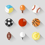 Sport balls icon set - vector white app buttons. Long shadow style with football soccer tennis baseball basketball golf  volleyball rugby bowling ping pong Stock Photography