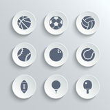 Sport balls icon set - vector white round buttons. With football soccer tennis baseball basketball golf volleyball rugby bowling ping pong symbols Stock Photo