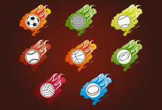 Sport balls icons. 8 Sport balls icons and symbols with flames Royalty Free Stock Image