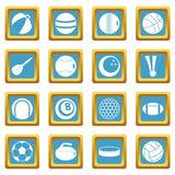 Sport balls icons azure. Sport balls icons set in azur color isolated vector illustration for web and any design Royalty Free Stock Photos