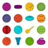 Sport balls icons doodle set. Sport balls icons set. Doodle illustration of vector icons isolated on white background for any web design Royalty Free Stock Photography