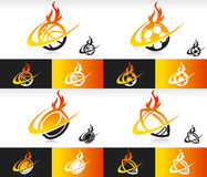 Fire Swoosh Sport Balls Icons. Sport balls icons with fire and swoosh graphic elements Stock Images