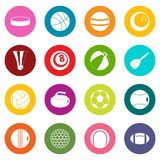 Sport balls icons many colors set. Isolated on white for digital marketing Royalty Free Stock Photos