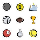 Sport balls icons set, cartoon style. Sport balls icons set. Cartoon illustration of 9 sport balls vector icons for web Stock Photo