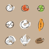 Sport balls icons set cartoon Stock Images
