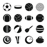 Sport balls icons set, flat style. Sport balls icons set. Flat illustration of 16 sport balls vector icons for web Stock Image
