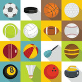 Sport balls icons set, flat style. Sport balls icons set. Flat illustration of 16 sport balls vector icons for web vector illustration