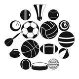 Sport balls icons set, flat style. Sport balls icons set. Flat illustration of 16 sport balls vector icons for web stock illustration