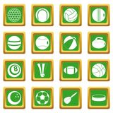 Sport balls icons set green. Sport balls icons set in green color isolated vector illustration for web and any design Royalty Free Stock Image