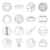 Sport balls icons set, outline style. Sport balls icons set. Outline illustration of 16 sport balls vector icons for web Royalty Free Stock Photography