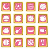 Sport balls icons pink. Sport balls icons set in pink color isolated vector illustration for web and any design Stock Photo
