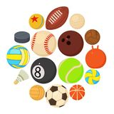 Sport balls icons set play types, cartoon style. Sport balls icons set play types. Cartoon illustration of 16 sport balls play types vector icons for web Stock Photography
