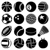 Sport balls icons set play types, simple style. Sport balls icons set play types. Simple illustration of 16 sport balls play types vector icons for web Royalty Free Stock Photography