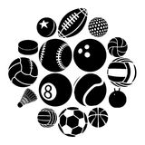 Sport balls icons set play types, simple style. Sport balls icons set play types. Simple illustration of 16 sport balls play types vector icons for web stock illustration