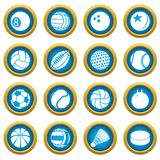Sport balls icons set play types, simple style. Sport balls icons set play types. Simple illustration of 16 sport balls play types vector icons for web royalty free illustration