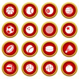 Sport balls icons set play types, simple style. Sport balls icons set play types. Simple illustration of 16 sport balls play types vector icons for web Royalty Free Stock Photo