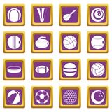 Sport balls icons set purple. Sport balls icons set in purple color isolated vector illustration for web and any design Stock Photos