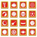 Sport balls icons set red. Sport balls icons set in red color isolated vector illustration for web and any design Stock Images